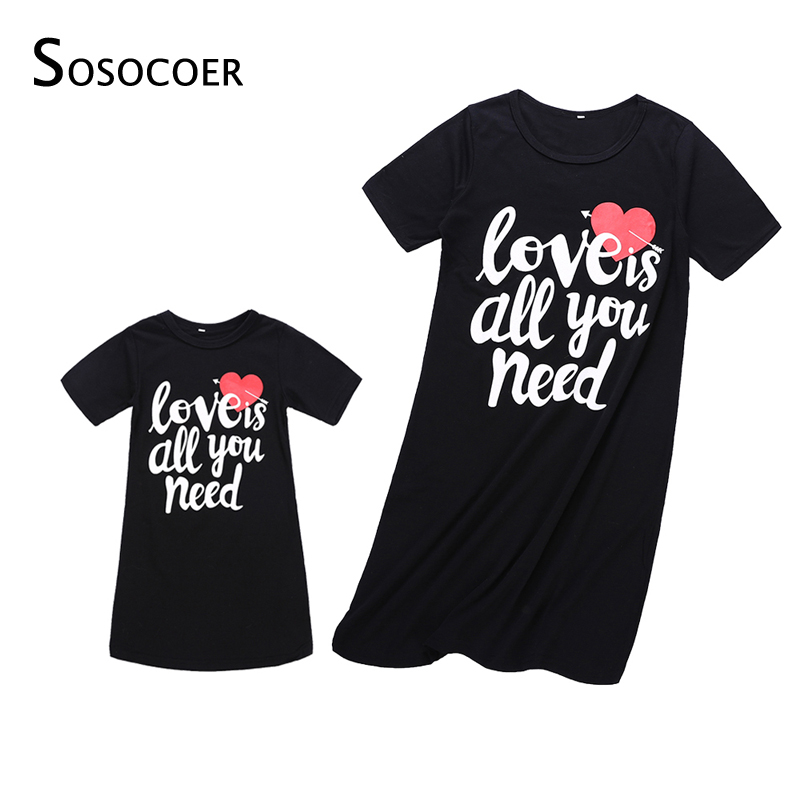 SOSOCOER Mother Daughter Dresses Summer Mom and Daughter Dress Family Look Matching Clothes Outfits Mother and Daughter Clothes summer brand design cotton kids beach dress mother and daughter dress family matching outfits clothes mom and baby girls dresses