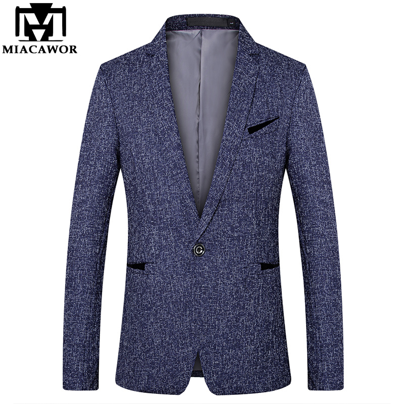 MIACAWOR New Casual Men Suit One Button Costume Homme Solid Color Classic Men Blazer Slim Fit Suit Jacket Plus Size 5XL J545