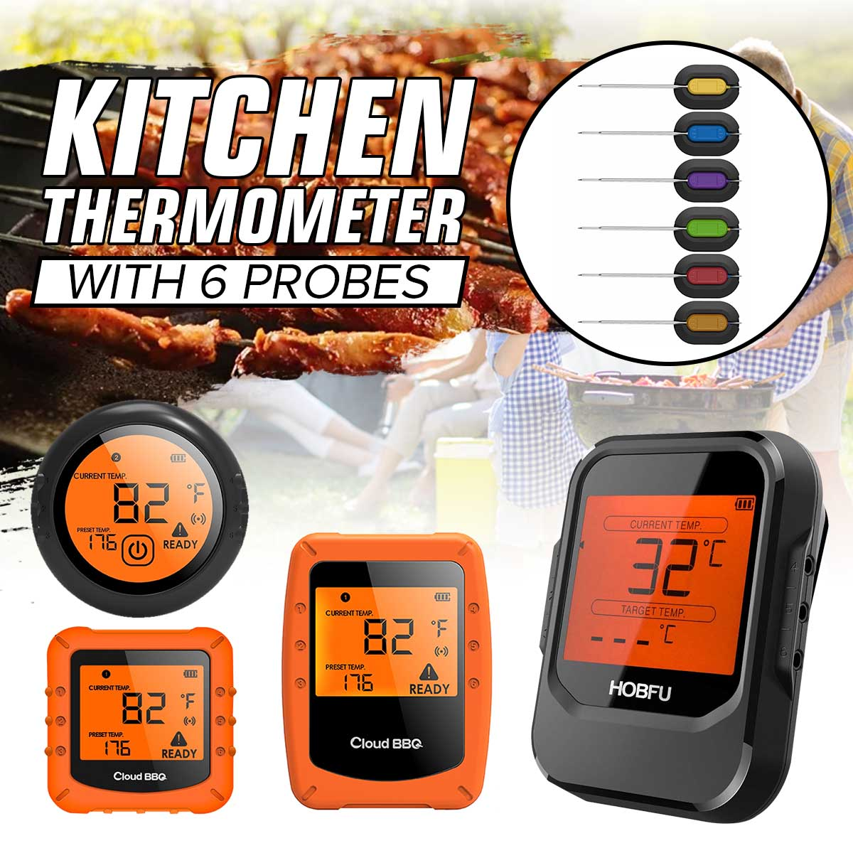 6 Probes Wireless Meat Thermometer for Grilling Digital Cooking BBQ Bluetooth