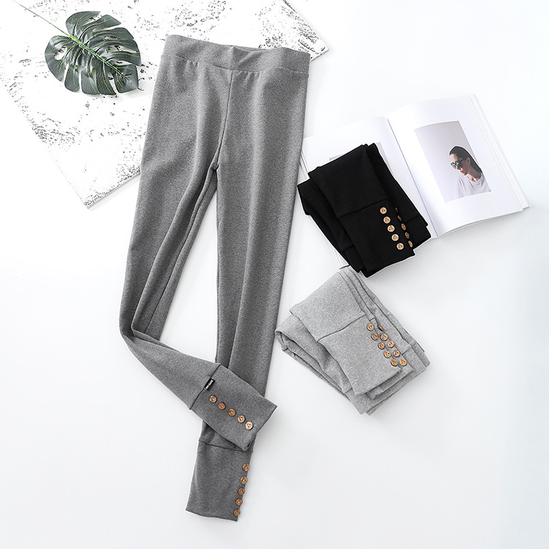 Female Button High Waist Slim High Elasticity Breathable Pencil Trousers Women Clothing Pants Sexy Women Lady Girl Skinny Pants