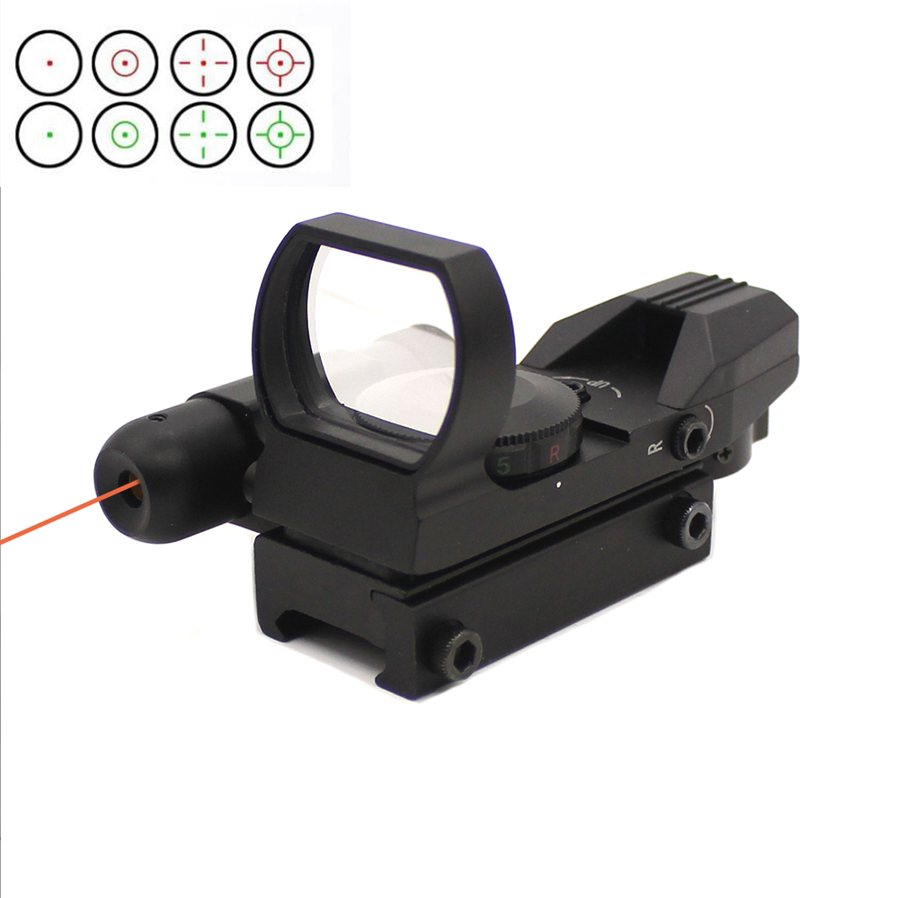 Tactical Reflex Red/Green Laser 4 Reticle Holographic Projection Dot Sight & Red Laser Scope Airgun Rifle Sight Hunting Rail
