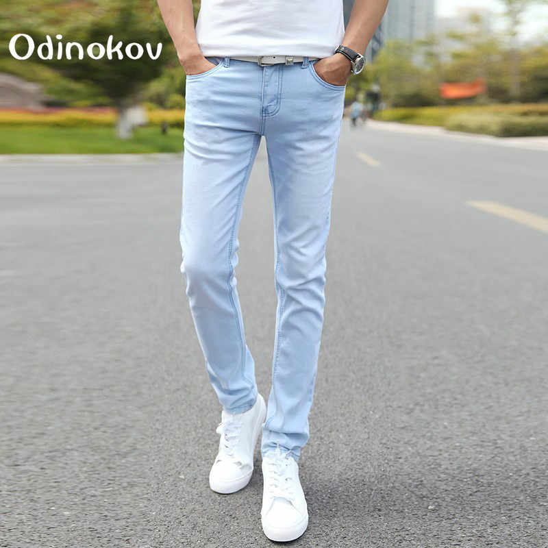 Male Fashion Designer Brand Elastic Straight Jeans 2017 New Men Mid Pants Slim Skinny Men Jeans Stretch Jeans For Man Men Jeans Stretch Brand Men Jeansdesigner Mens Jeans Aliexpress