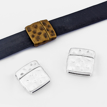 2sets Fashion Jewelry Hammered Flat Strong Magnetic Clasp For 10mm 20mm Leather Cord Bracelet Accessories 27*27mm