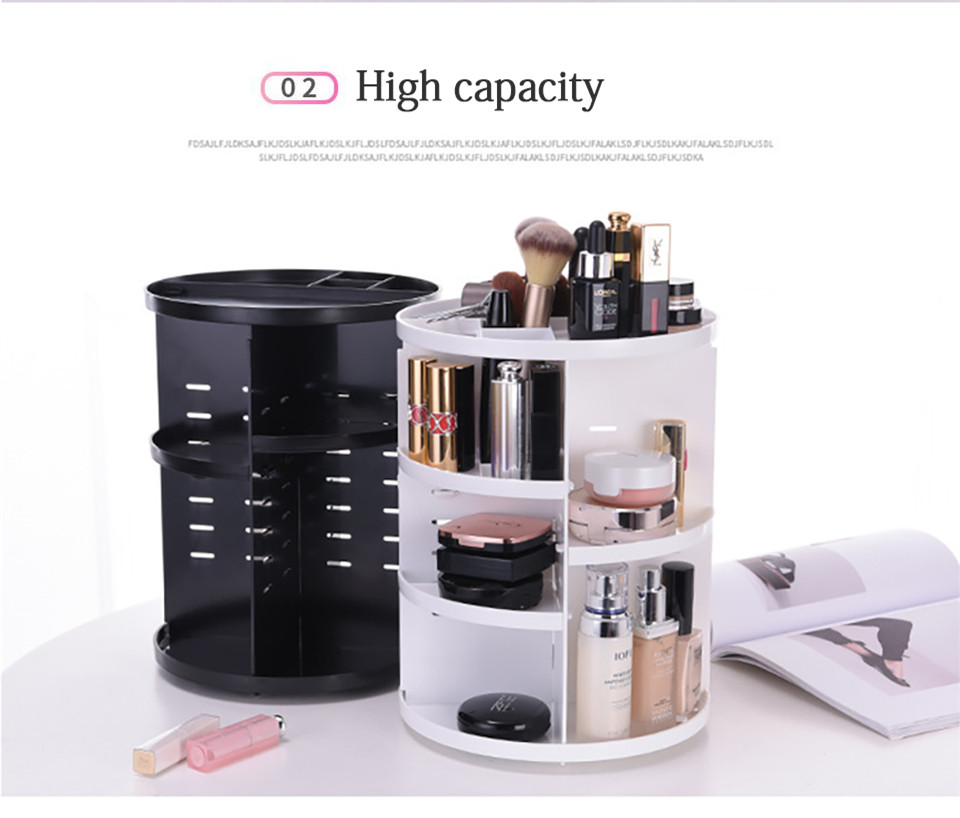 360 Degree Rotating Makeup Organizer Multifunction Jewelry Cosmetic Lipstick Brushes Make Up Organizer Plastic Storage Box Case 04