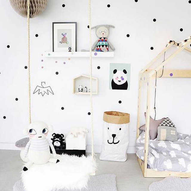 Kids children scandinavian style golden polka dots bedroom for Sticker decorativos para ninos