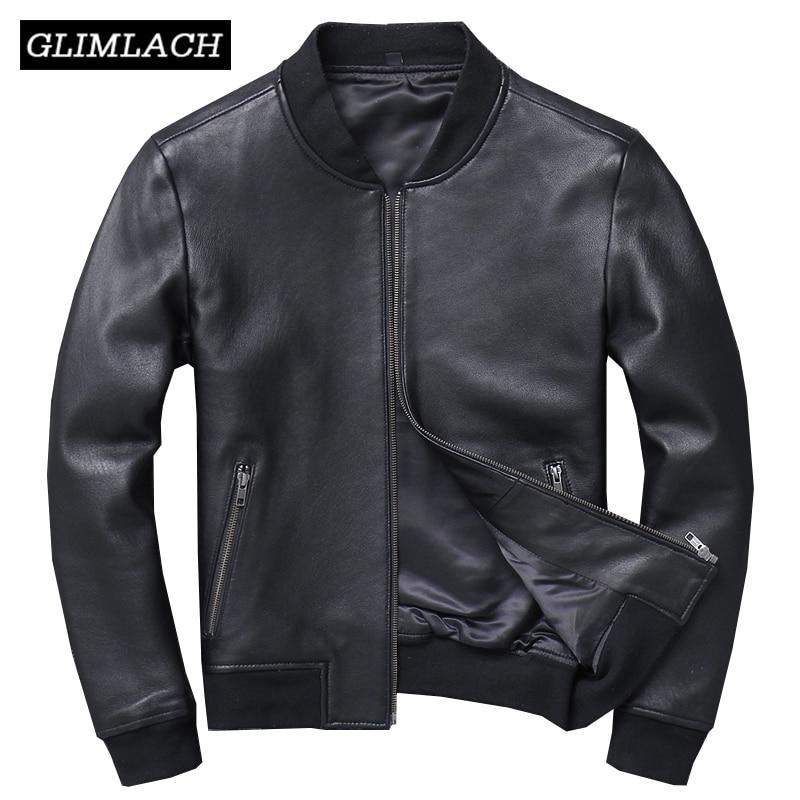 Autumn Genuine Leather Large Size Aviation Flight Pilot Leather Jacket Real Sheepskin Men Bomber Jacket Slim Black Aviator Coats