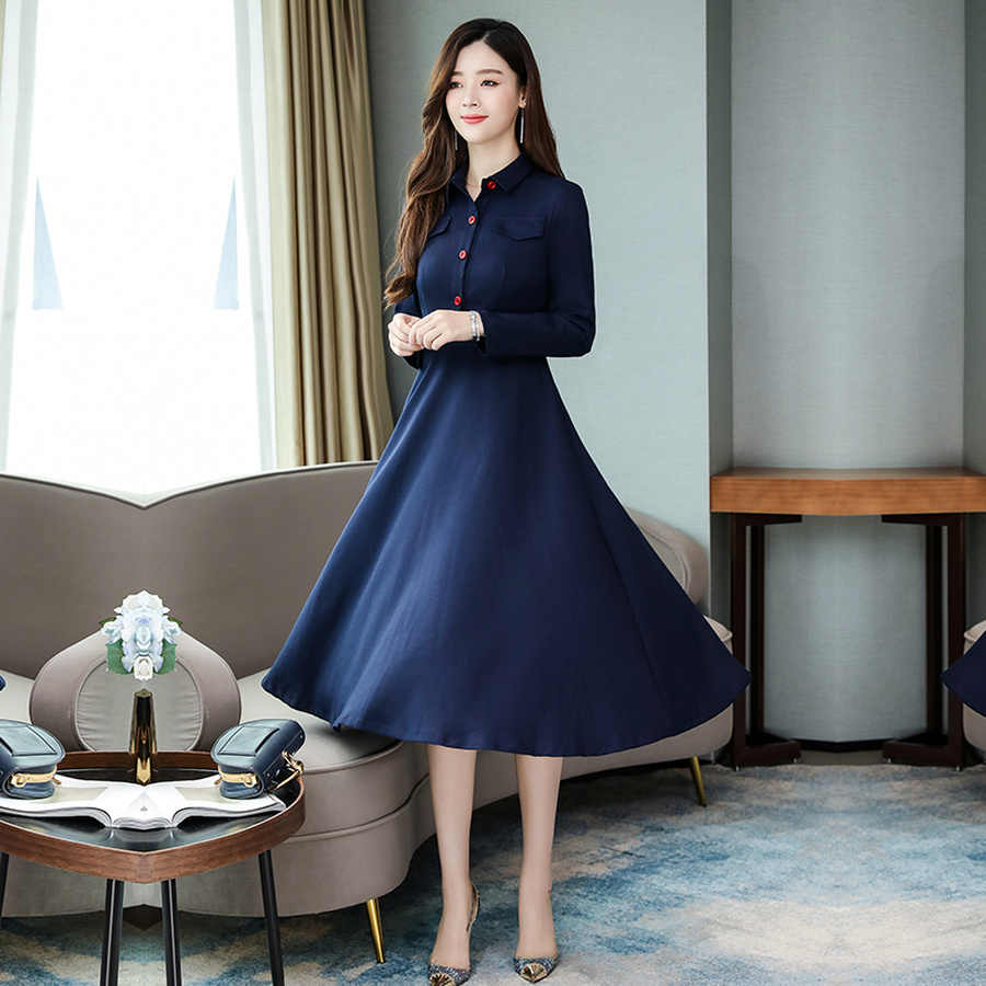 2019 винтажные весенние синие шикарные миди платья с длинными рукавами Осень Зима Плюс Размер однотонное платье элегантные женские облегающие вечерние платья