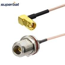 Superbat N женский переборка уплотнительное кольцо прямой к SMA Мужской правый угол Соединительный пигтейльный кабель RG316 50 см для WiFi антенны