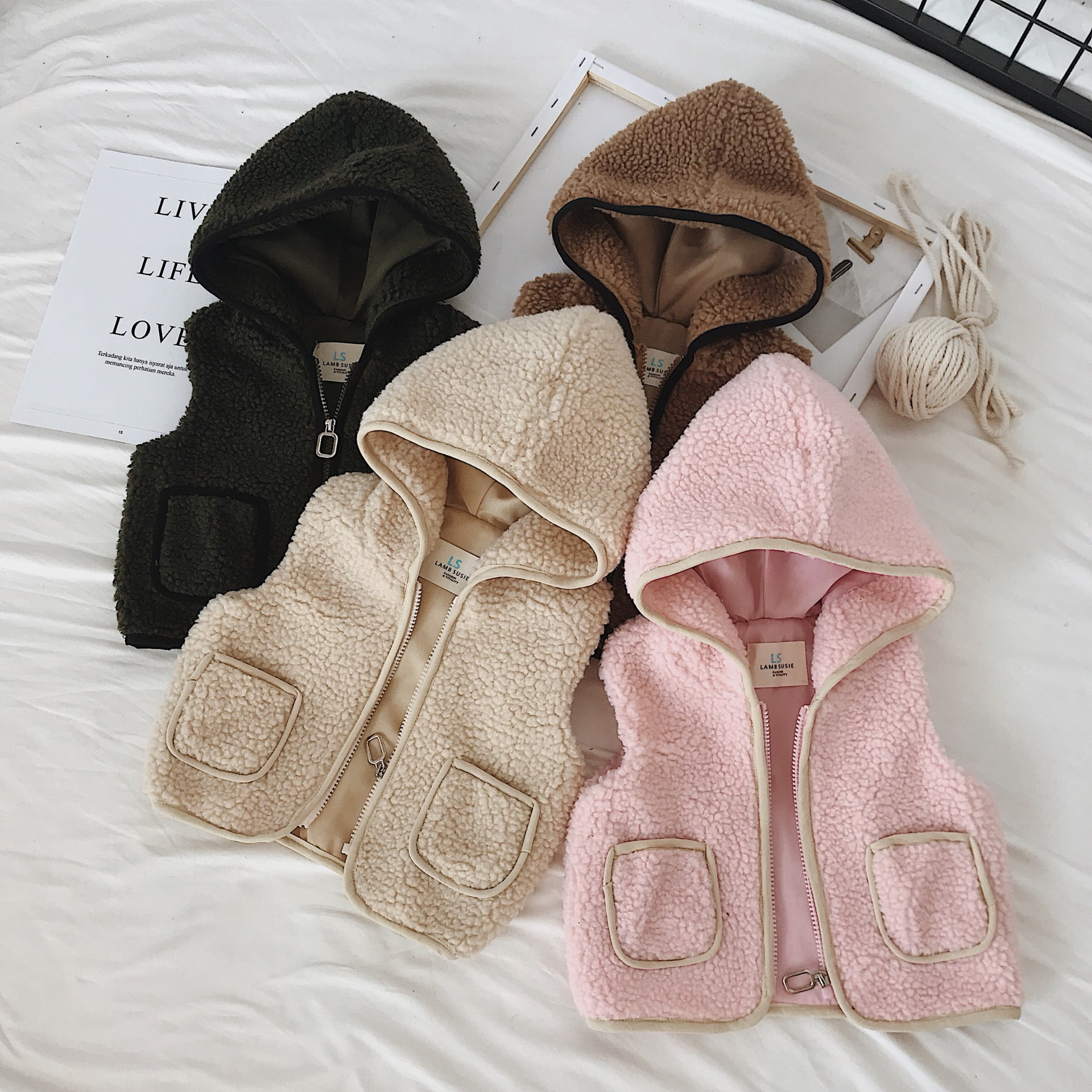 Baby Boy Vest Lamb Fur Vests Baby Girls Boys Christmas Kids Vests Waistcoats Vest Outerwear Baby Toddler Winter Clothes for 1-6Y kids vest children s girls vest hooded jacket winter autumn waistcoats for boy baby outerwear coats big teens girl clothes