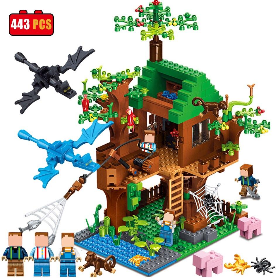 Qunlong minecrafted классический Tree House мой мир Совместимость legoed цифры строительные Конструкторы кирпичи Игрушечные лошадки для детей Рождество