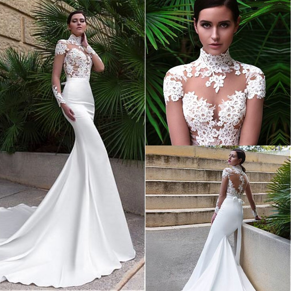 Elegant High Neckline Mermaid Wedding Dresses With Lace Appliques Long Sleeve Sexy See Through Bodice Bridal Gowns Lace 2019