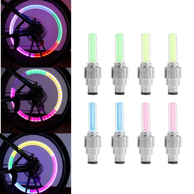2Pcs Bike Lights Bicycle Tyre Tire Valve Caps Wheel Spokes LED Light 4 Colors