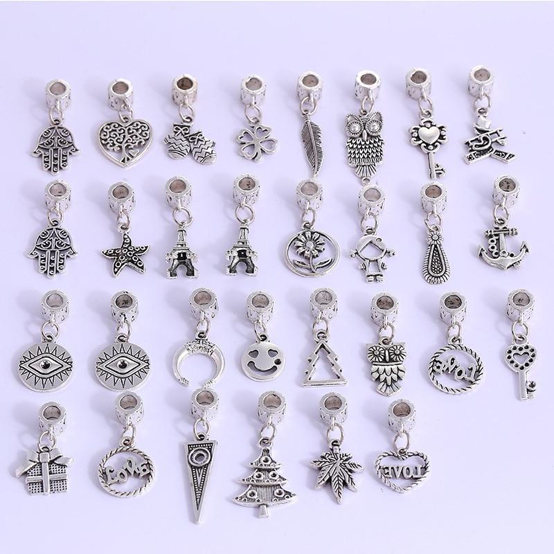 30 шт. смешивания стилей Тибетское серебряное ожерелье алюминиевые зажимы Bails сердце/рука/Сова/ключ талисманы браслет кулон разъем для DIY ювелирные изделия