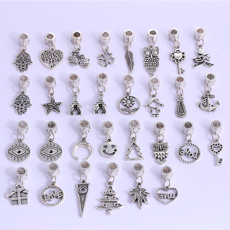 80Pcs Mixed Antique Silver Charms Heart And Owl Pendant For Jewelry Making