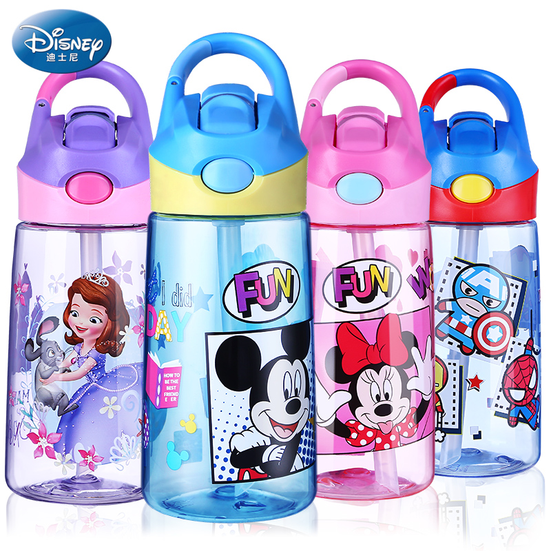460ML Baby Cups With Straw Plastic Drinking Feeding Bottles Portable Water Cup Marvel Tritan BPA Free Can Be Hanging For School