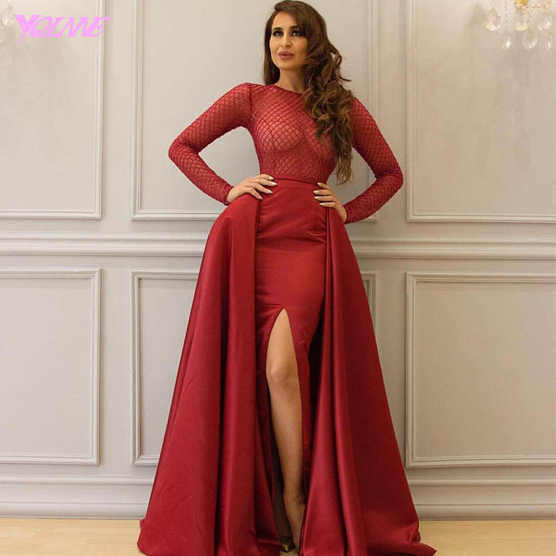 Fashion 2 In 1 Ball Gown Prom Dresses Long Sleeves Evening Party Gowns Red Satin Zipper Back Detachable Train Vestido De Festa
