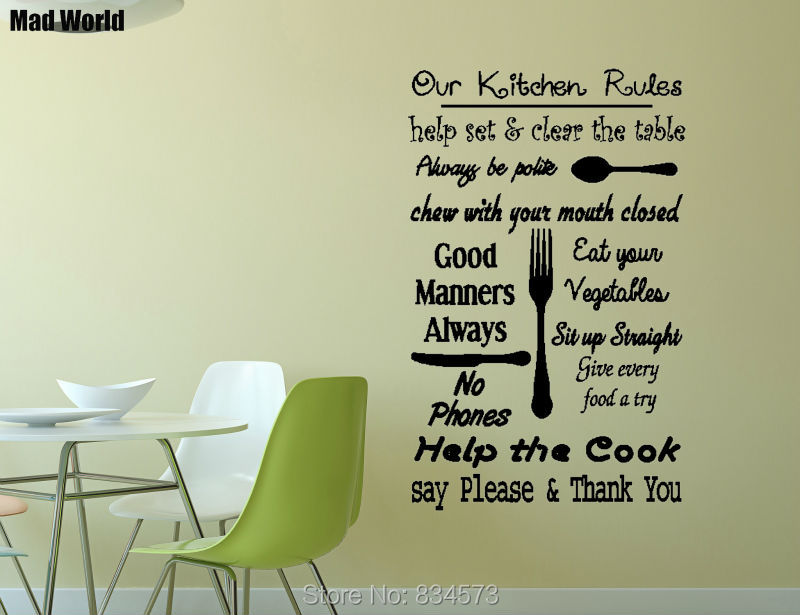 Mad World-Our KITCHEN RULES Quote Wall Art Stickers Wall Decal Home DIY Decoration Removable Room Decor Wall Stickers