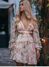 backless bandages pink floral printed chiffon dress