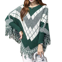2016 Autumn Fashion Pullovers Elegant Cloak Shawl Tassel Plaid Oversized Bat Sleeved Poncho Women Knitted Sweaters