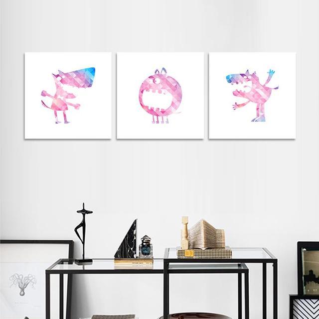 3 UNIDS Sin Marco Lobo de Dibujos Animados Pintura mural de Arte ...