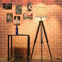Vintage Industrial Loft Wooden Fabric Liftable Floor Lamp with Foot Switch for Foyer Bedroom Hotel Deco H152cm Led E27 Light
