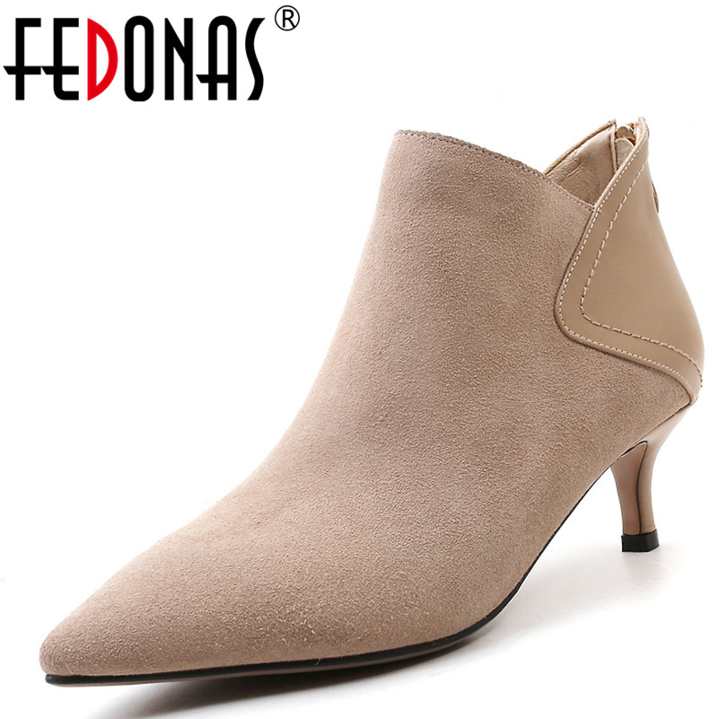 FEDONAS 1Fashion Women Ankle Boots Autumn Winter Cow Suede High Heels Shoes Woman Pointed Toe Thin Heels Elegant Office Pumps bigtree summer autumn women pumps elegant show thin heels stiletto suede pointed side hollow female high heels shoes g3168 6