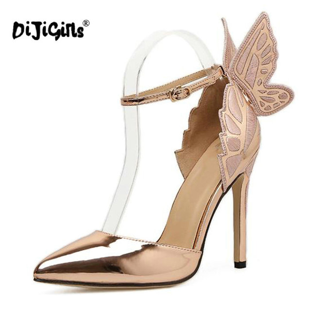 DIJIGIRLS Fashion Butterfly Wing Top Sold Buckle Strap Women Pumps Sexy  Pointed Toe High Heel Women Party Shoes Size 35-40 4c04f60be07f