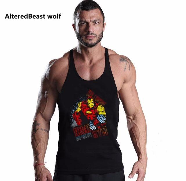 Brand Men's   Tank     Tops   Shirts Sleevess Bodybuilding Singlets Stringer IRON MAN Print Fitness Men   Top     Tanks   Muslce Vest Undershirt