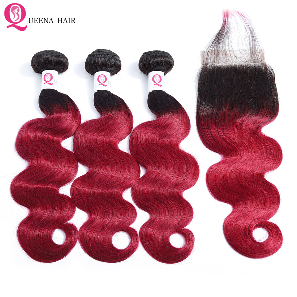 Ombre 1B Burgundy Bundles With Closure Raw Indian Hair Body Wave 3 Bundles With Closure Colored Human Hair Bundles With Closure