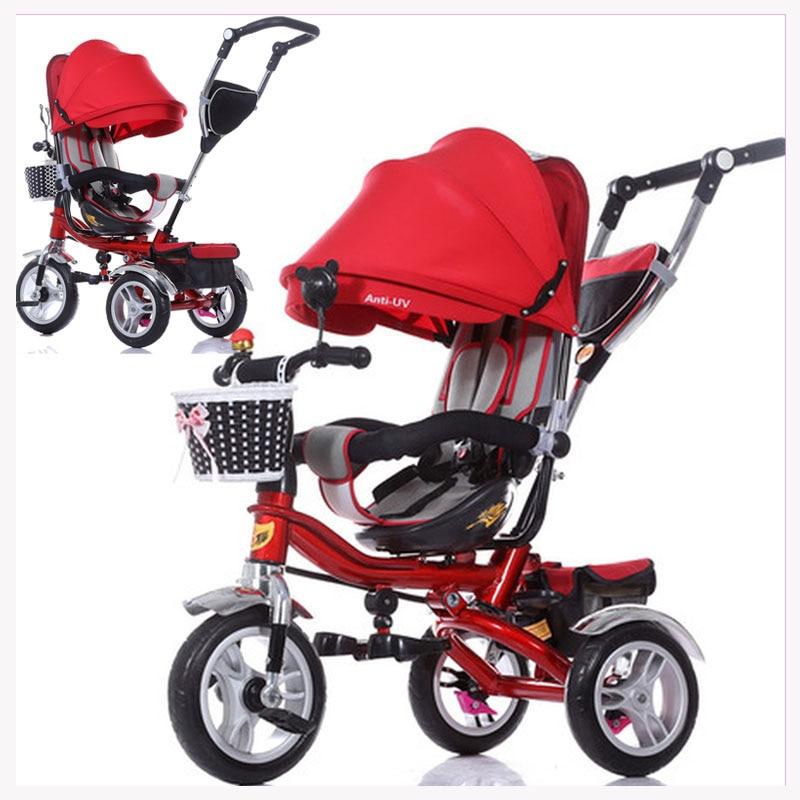 Siège pivotant enfant pousser à la main Tricycle poignée inversée double voies bébé Tricycle vélo amortisseur bébé poussette Tricycle vélo