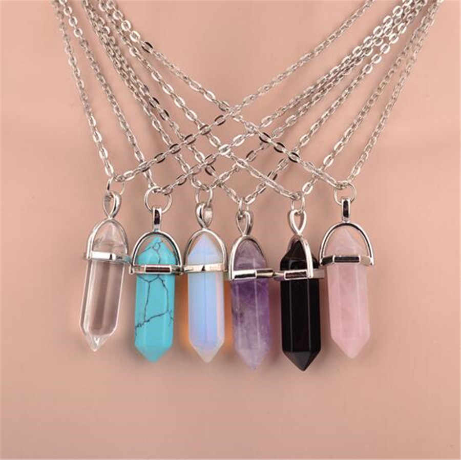 ホット六角柱ネックレス天然水晶緑、紫、ピンク石 CZ ペンダントチェーンネックレス女性ギフトファインジュエリー