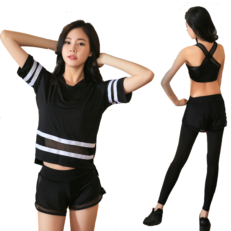 New Plus Size Women Yoga Set Women Fitness T shirt Running Tights Breathable Exercise Sports Bra Outdoor Striped Mesh Sport Suit