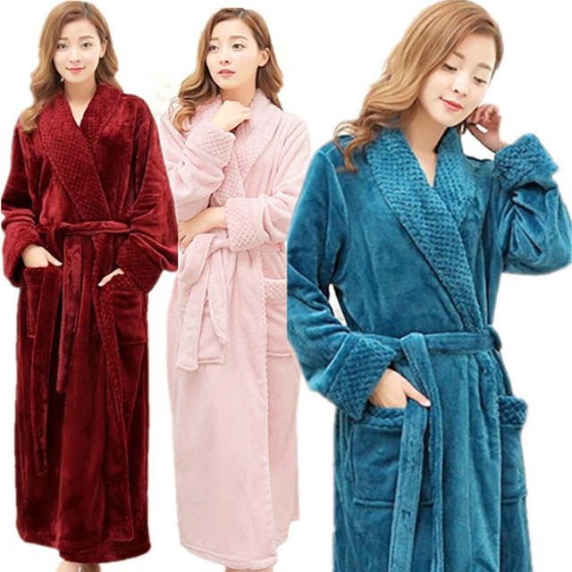 Online Shop Hot Selling Women Super Soft Winter Warm Long Bath Robe Lovers  Kimono Bathrobe Men Dressing Gown Bride Wedding Bridesmaid Robes  bd9649d34