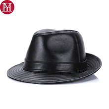 New Men Real Sheepskin Leather Fedoras Cap Winter Male 100%