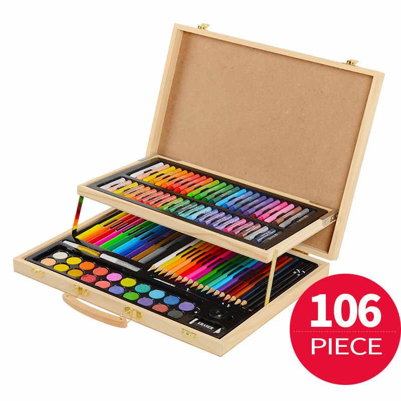 106 pieces art set painting set for kids children drawing color pens crayons with wood case art. Black Bedroom Furniture Sets. Home Design Ideas