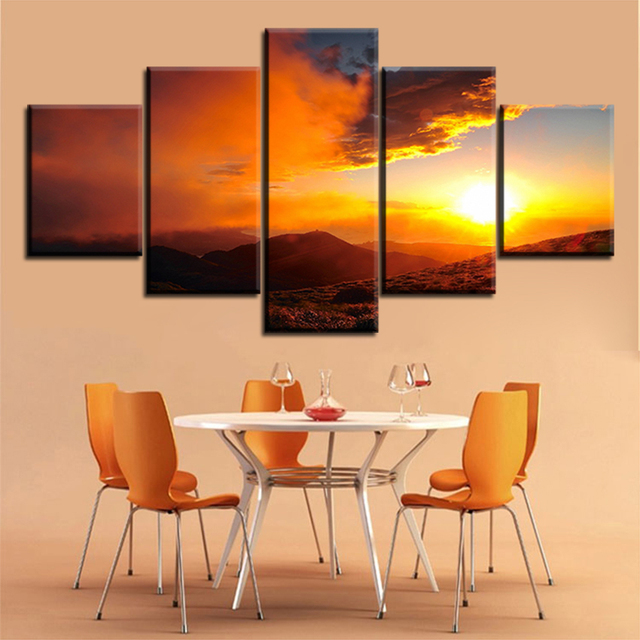 Nice cloud 5 pc Set sky clouds sunrise NO FRAME Oil Painting Canvas ...