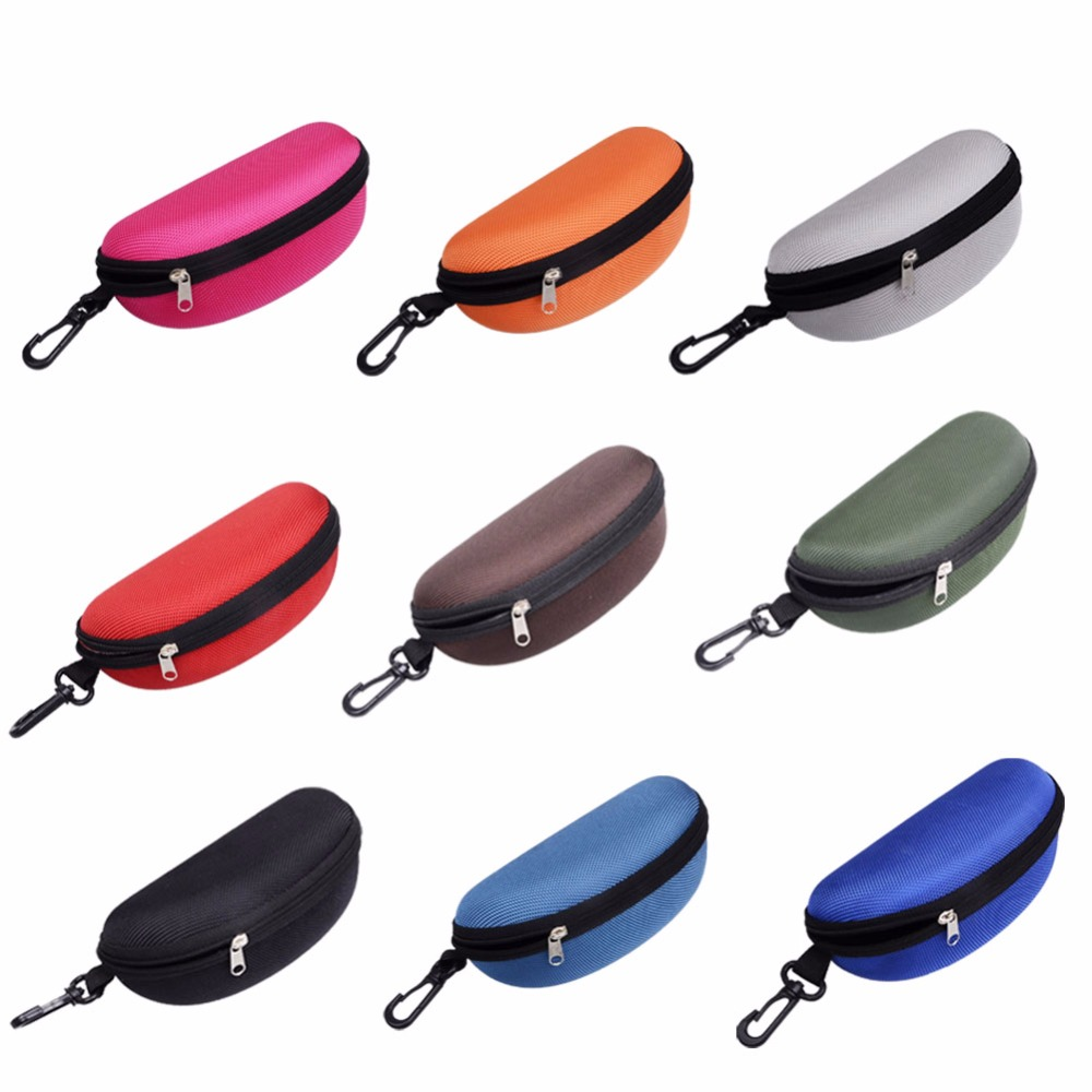 NEW Portable Zipper Wholesale Eye Glasses Clam Shell Sunglasses Hard Case Protector Box
