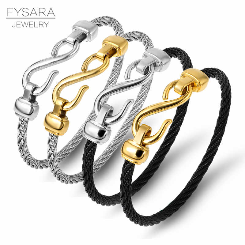 FYSARA Gold Color Titanium Steel Bracelet Hooks Fashion Jewelry Infinity Lover Charm Bracelets Bangles For Women Couple Gift
