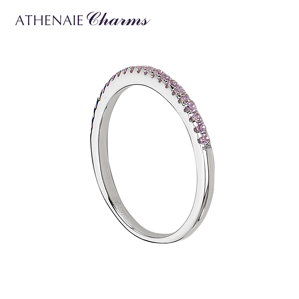 ATHENAIE 925 Sterling Silver Stackable Rings Classic Pink CZ Wedding Female Ring for Women GiftATHENAIE 925 Sterling Silver Stackable Rings Classic Pink CZ Wedding Female Ring for Women Gift