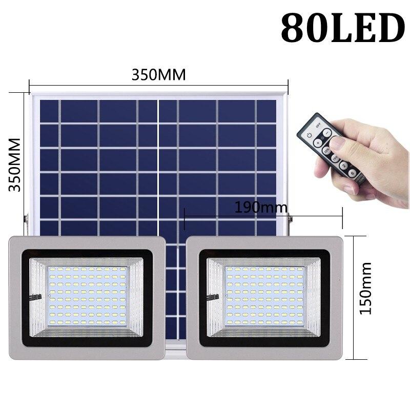 36W 60W 80W 100W SMD5730 éclairage LED LED capteur à énergie solaire lumière de sécurité extérieure jardin lampe d'inondation étanche blanc froid - 3