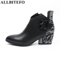 ALLBITEFO Full Genuine Leather Pointed Toe Thick Heel Buckle Women Boots Fashion Brand High Heeled Winter