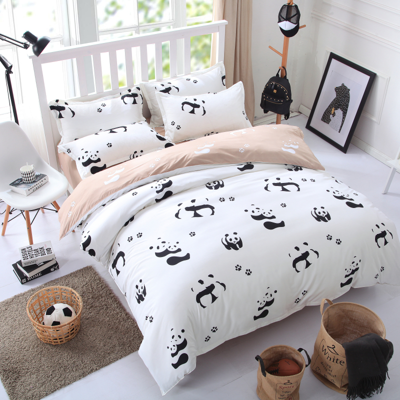 black White panda cartoon single queen king size bedding