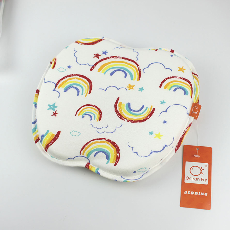 Baby Memory Pillow Anti Deviation Head Breathable Mesh Cloth Printed Cotton Wool Ventilation Comfortable Baby Cartoon