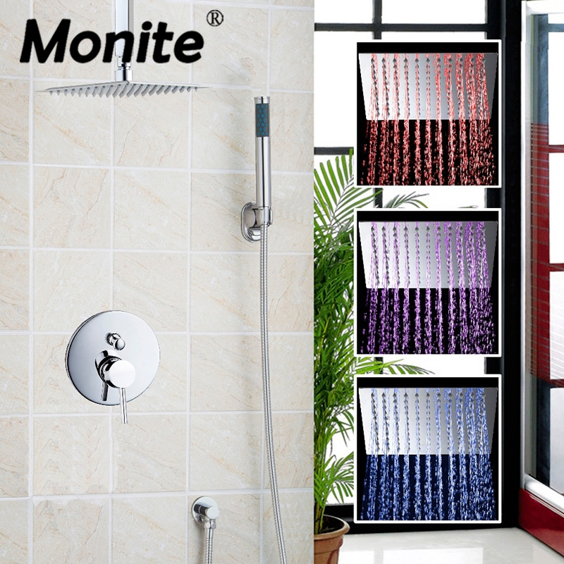 цена LED Color Changing Ceiling Mounted Shower Faucet Set 3 Color Changing With Hand Shower Shower Faucets