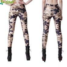 7bdcbe1702fa3 Green Camouflage Womens Skinny Leggings Yellow Compression Power Flex Camo  Pants Sexy Slim Pencil Pants Fashion