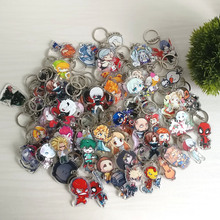 100pcs/lot Hundreds of Styles Acrylic Keychain Anime Keyring High Quality Chibi Pendant Key Chain Accessories