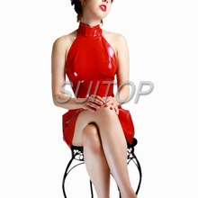 Red rubber vest dress latex for woman Elegant Party  New SUITOP