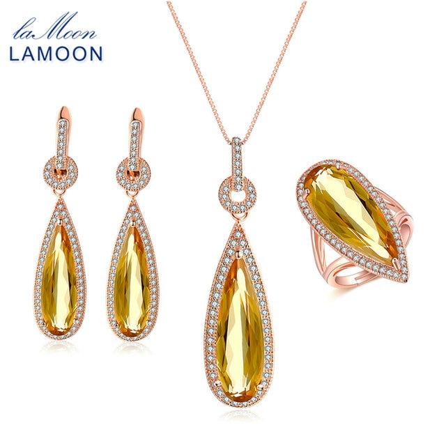 LAMOON luxe poire Citrine pierre précieuse naturelle 3 pièces S925 ensembles de bijoux 100% 925 argent Sterling pour les femmes bijoux de fiançailles V047-3