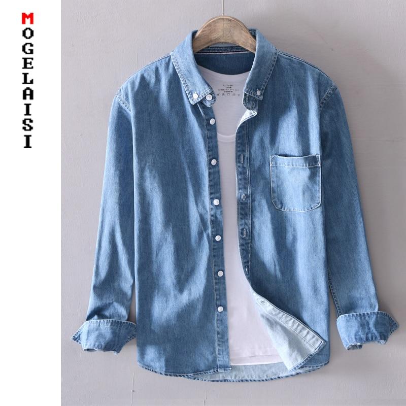 New 2019 Men Casual Denim Shirt 100%cotton Solid Long Sleeve Tops Man High Quality Blue Shirt Chemise Homme Plus Size 4XL 18021