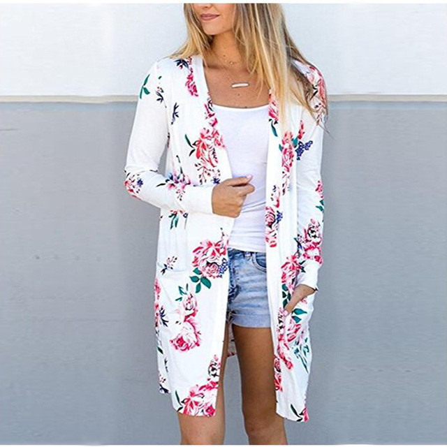 Women Open Stitch Long Cardigan XXXL Women Casual Floral Print Trench Coat Plus Size Female Full Sleeve Thin Coats 2018